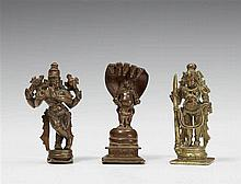 Two South Indian bronze figures of Krishna and one figure of Balarama. 17th/19th century