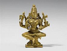 A Maharashtra brass figure of the four-armed Sarasvati. 19th century or earlier