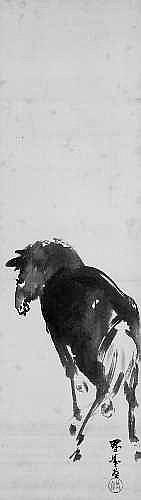Yamamoto Shunkyo (1871-1933) Hongerolle. Pferd.