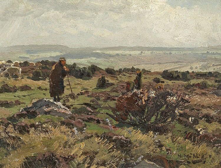 HUGO MÜHLIG, SHEPPHERD WITH SHEEPFLOCK NEAR