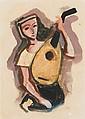 KARL HOFER, Mädchen mit Laute. Verso: Weiblicher Kopf nach rechts, 1947