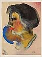 EMIL NOLDE, Profil einer Frau mit schwarzen Haaren, 1931
