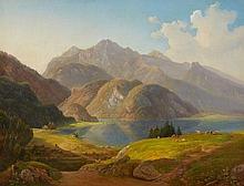 Michael Lueger, View of Lake Kochel with Herzogstand and Heimgarten