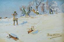 Hugo Mühlig, Winter Landscape with a Rabbit Hunt
