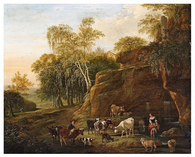 Johann Friedrich Weitsch, called Pascha, A Wooded Landscape with Shepherds
