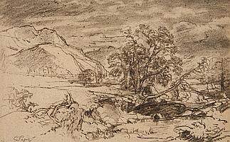 EDUARD PAPE; MOUNTAINOUS LANDSCAPE