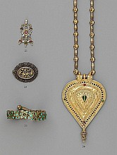 A Persian gold and enamel pendant. Possibly 19th century