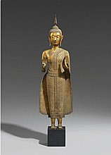A Ratanakosin lacquered and gilded bronze figure of Buddha. 19th century