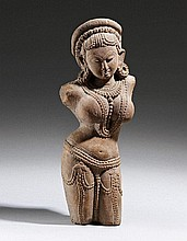 A Central Indian sandstone female torso. In style of the 12th/13th century