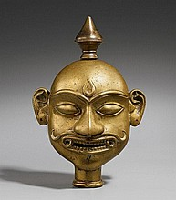 A brass mask of Bhairava. 18th/19th century
