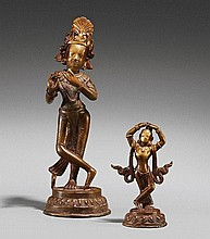 Two brass figures. Probably 18th century