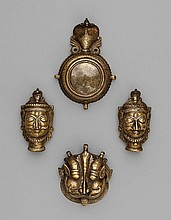 A set of brass accoutrements of a Jangam.  Andra Pradesh. 18th century
