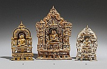 A Gujarat/Rajasthani brass Jain altarpiece in two parts. Dated 1435