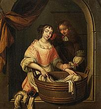 Reynier de La Haye , A Young Couple by a Washing Trough
