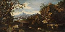 Italian School of the 18th century, Landscape with an Angler
