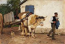 Hugo Mühlig , Farm with Ox Cart