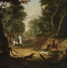 Johann Christian Klengel, circle of, Deer Hunt with two Huntsmen on HorsebackBoar Hunt with two Beaters and two Huntsmen on Horseback