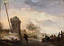 Johannes Maas the Younger , Ice Skating before a Dutch Town