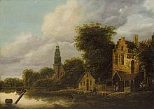 Netherlandish School of the 17th century, Canal Landscape with a Church Spire and Inn