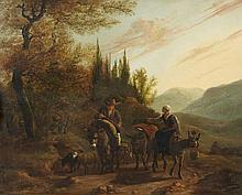 Karel Dujardin, attributed to, Landscape with a Peasant Couple Riding Donkeys