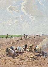 Hugo Mühlig, Landscape with Peasants