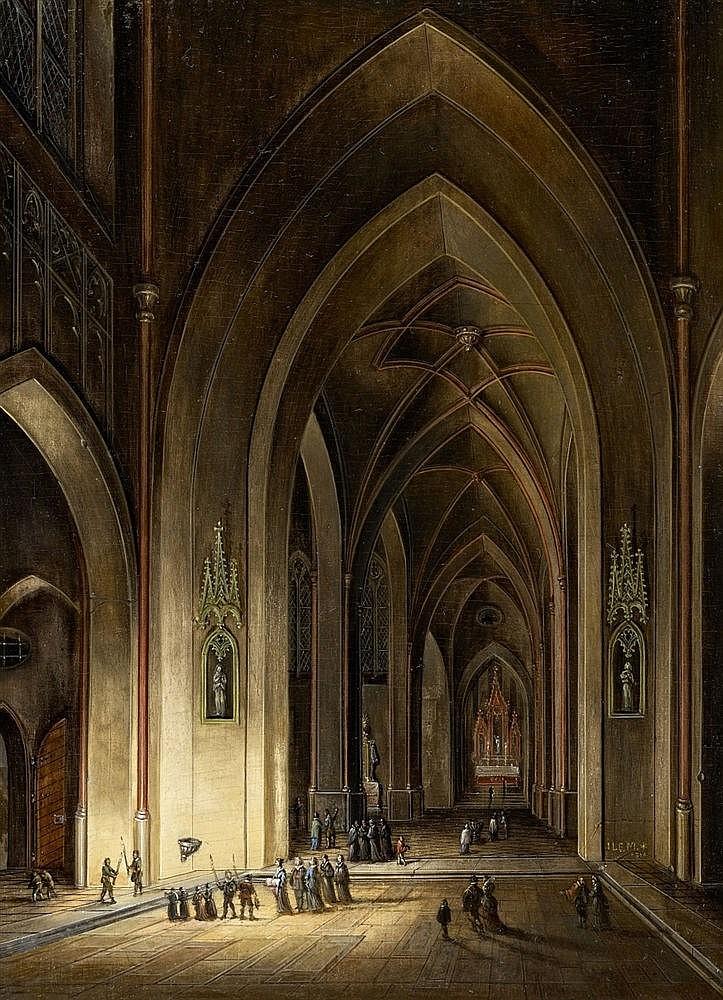 Johann Ludwig Ernst Morgenstern, A Gothic Church Interior by