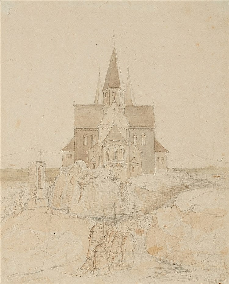 Ivo Ambroise Vermeersch, Procession by a Romanesque Church