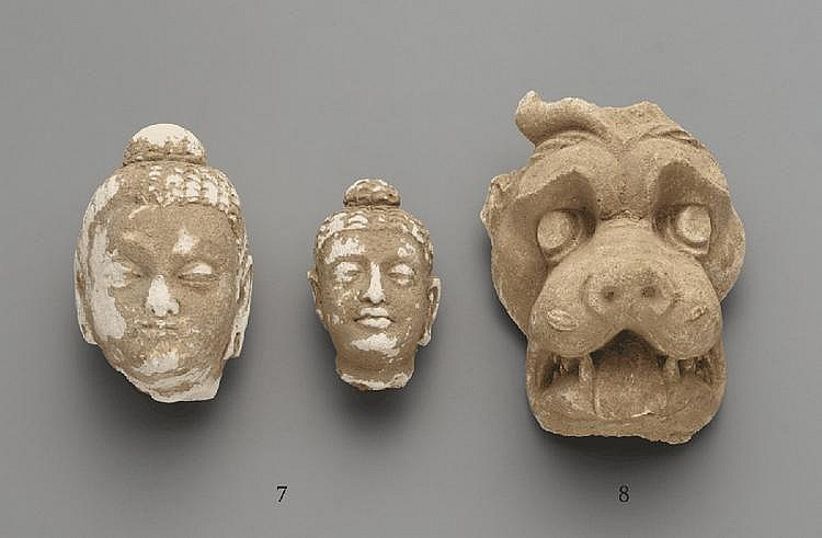 Two Hadda stucco Buddha heads. Pakistan. 3rd/4th century