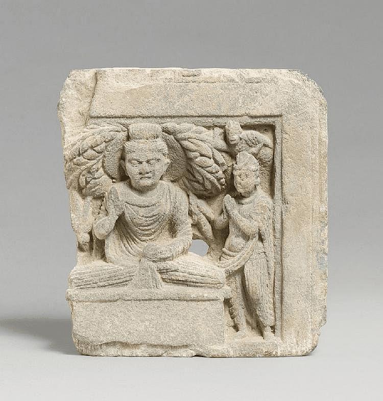 A Gandhara grey schist architectural fragment. Pakistan. 3rd/4th century