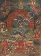 A Thangka of Kakanama-Mahakala in 'yab-yum'. Southern Tibet. Ca. 17th century