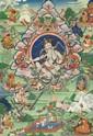 A 'thangka' of Kälsang Gyatso, the VII. Dalai Lama. Tibet. Late 19th/20th century