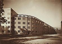 Werner Mantz, Wohnhausgruppe in Köln-Mülheim, Straßenfront (Kieler Straße), 1927/28