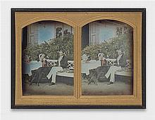 Wilhelm Schneider, A couple drinking tea in a garden, probably in Moscow, 1861