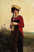 Jules-Joseph Lefebvre, An Italian Lady Knitting