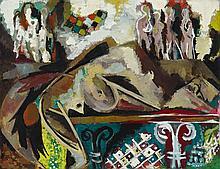 Ernst Wilhelm Nay, Die Ruhende und die Himmlischen (Laon), 1946