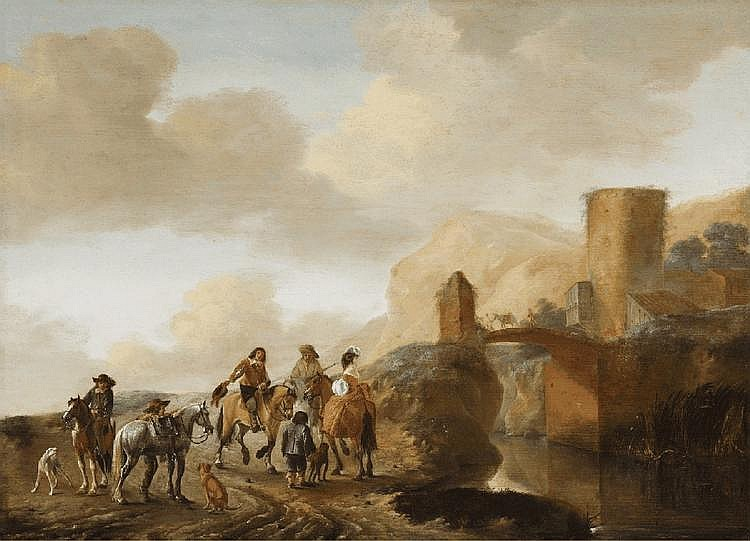 PHILIPS WOUWERMAN, LANDSCAPE WITH TRAVELLERS AND BRIDGE, oil on panel, 50 x 69 cm
