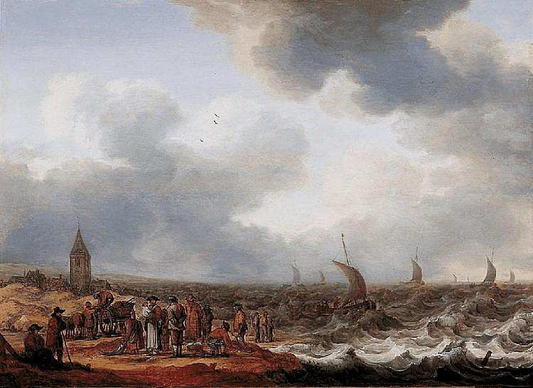 CORNELIS STOOTER, COASTAL LANDSCAPE WITH FISHMONGERS AND STORMY SEA, oil on panel, 46 x 64.5 cm