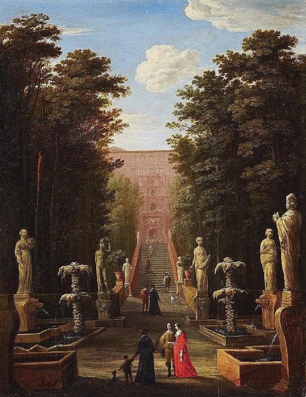 JOHANN WILHELM BAUR, ELEGANT SCENE IN THE VILLA D´ESTE, oil on panel, 69.5 x 63.5 cm