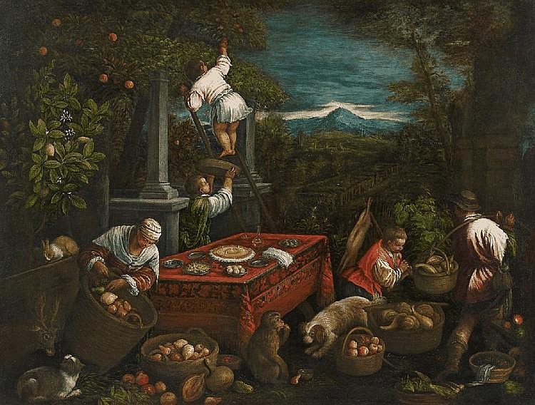 LEANDRO BASSANO, ALLEGORY OF THE EARTH, oil on canvas, 136.5 x 180 cm