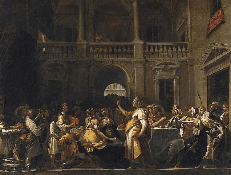 PIER FRANCESCO MAZZUCCHELLI, CALLED IL MORAZZONE, attributed to, A BANQUET, oil on canvas (relined), 84.5 x 112 cm