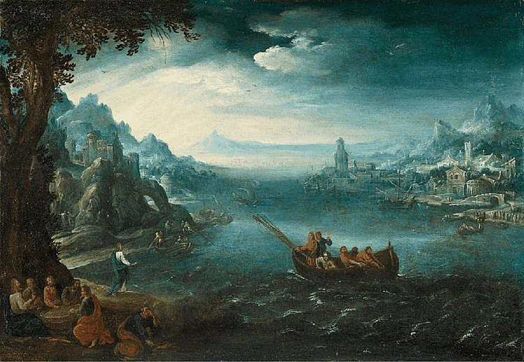 PAUL BRIL, LANDSCAPE WITH THE CALLING OF THE APOSTLES, oil on panel (parqueted), 36.5 x 53 cm