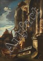 ANDREA LOCATELLI, TWO CAPRICCI WITH RUINS, oil on canvas (relined), 135 x 95 cm each