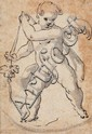SOUTHGERMAN OR AUSTRIAN MASTER, 18th Century, WINGED PUTTO, Pen and black ink, mounted, 9.7 x 6.7 cm