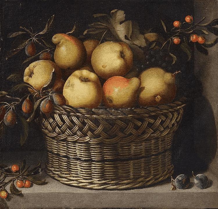 JUAN VAN DER HAMEN Y LEÓN, APPLES, QUINCES, PLUMS AND CHERRIES IN A BASKET, oil on canvas (relined), 51 x 53.8 cm