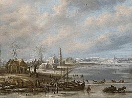 DANIEL VAN HEIL, WINTERLANDSCAPE WITH FROZEN SEA, oil on canvas (relined), 24.5 x 32.5 cm