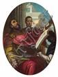 GIOVANNI BATTISTA TIEPOLOand ANTONIO BELLUCCI, KING DAVID SINGING, oil on canvas (relined), 128 x 94 cm (oval)