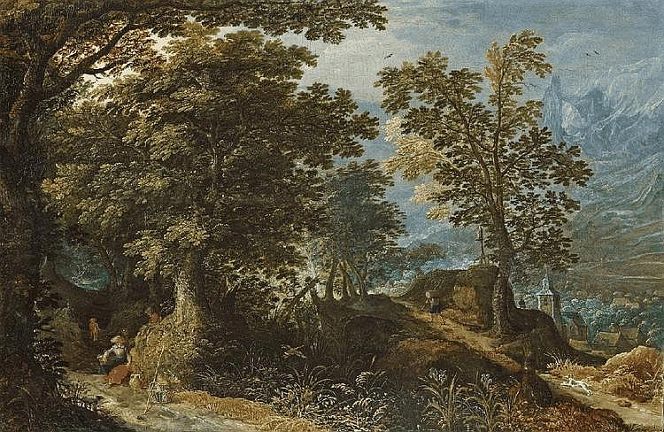 FLEMISH SCHOOL, early 17th Century, WOODED LANDSCAPE WITH RESTING WOMAN AND WANDERERS, oil on panel, 48.5 x 71 cm