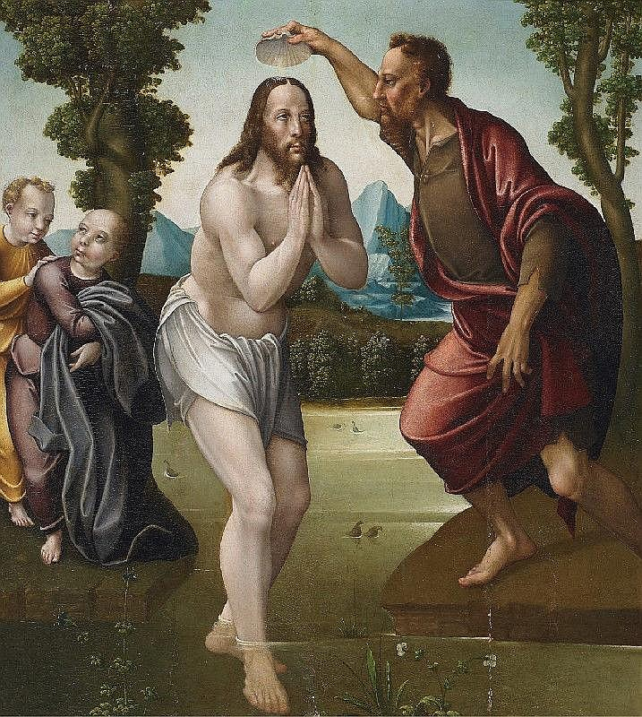 PABLO DE AREGIO, attributed to, BAPTISM OF CHRIST, oil on panel, 82 x 94 cm