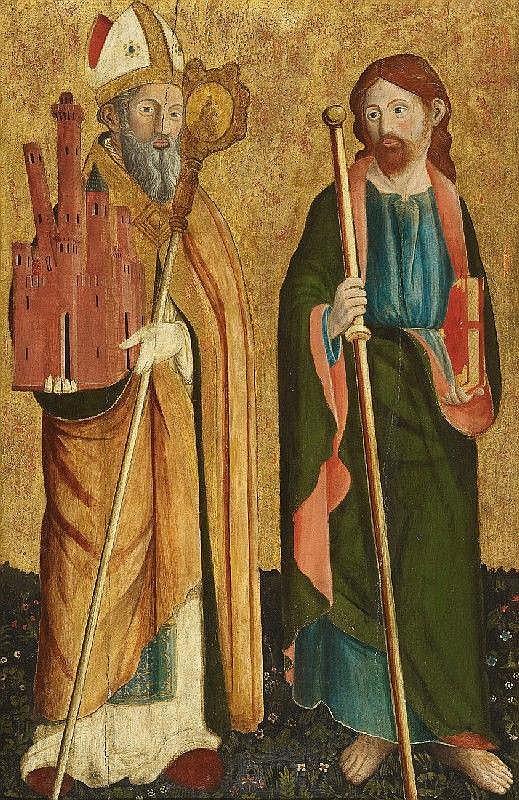 CRISTOFORO DI BENEDETTO, SAINT PETRONIUS AND THE APOSTLE JAKOBUS MAJOR, Tempera on wood, 90.5 x 61.7 cm