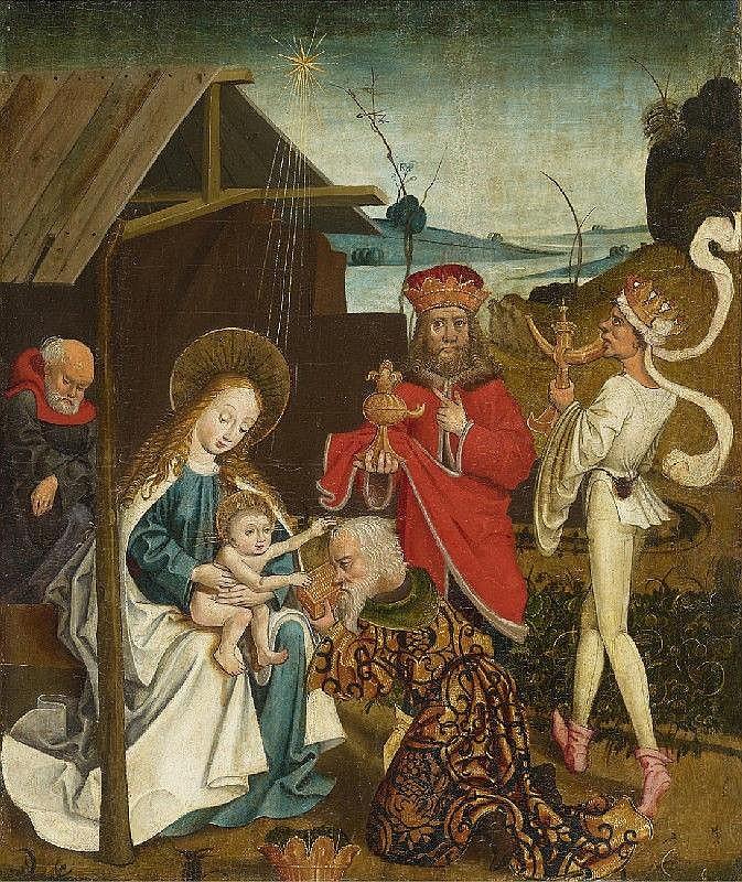 UPPER RHINE-REGION, circa 1490/1500, ADORATION OF THE MAGI  DEATH OF THE VIRGIN, oil on panel, 55 x 46 cm each